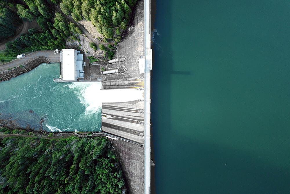 Drone shot of a dam