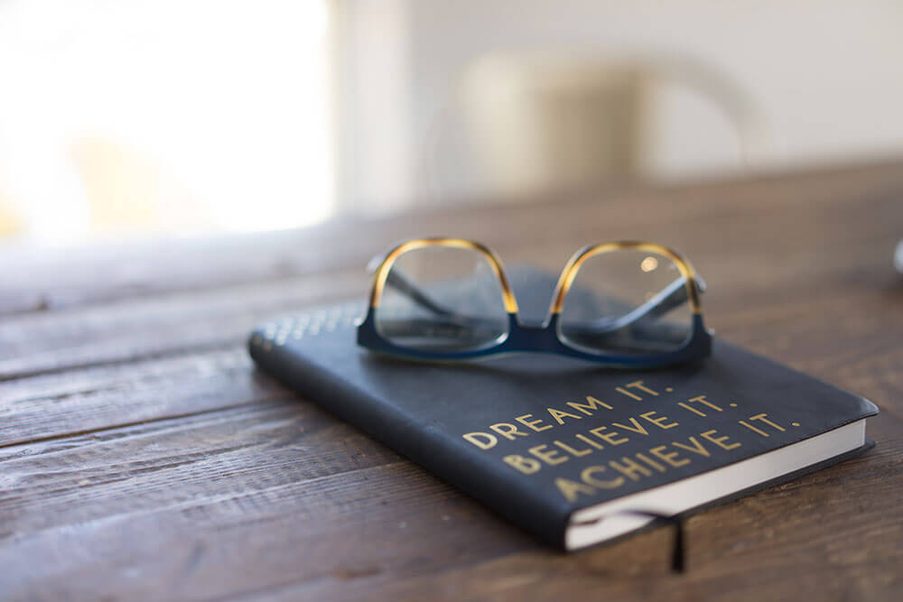 Glasses on top of a journal