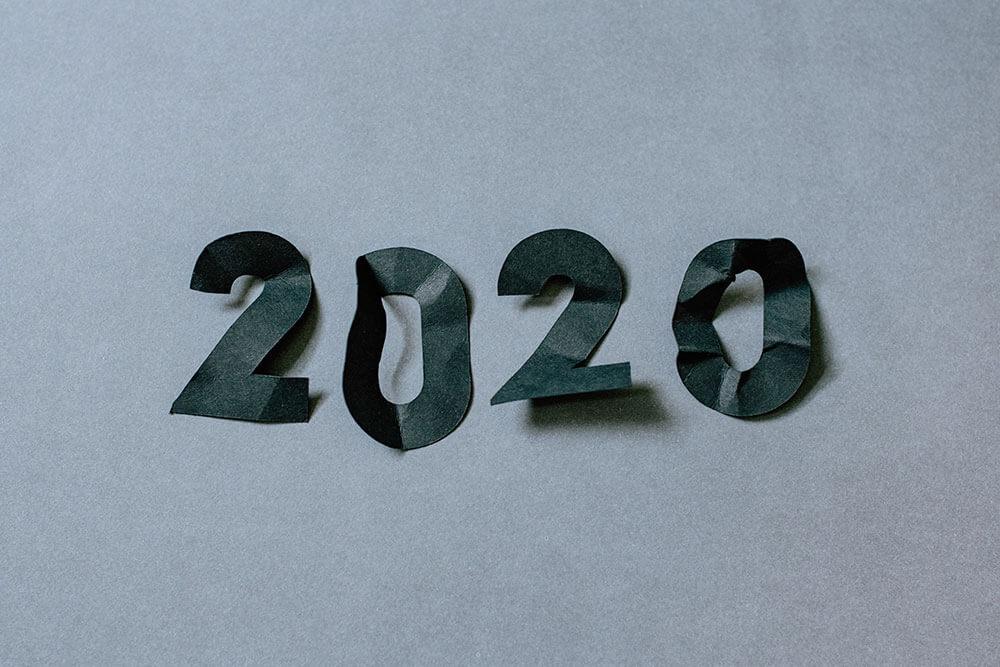 """""""2020"""" written on paper"""