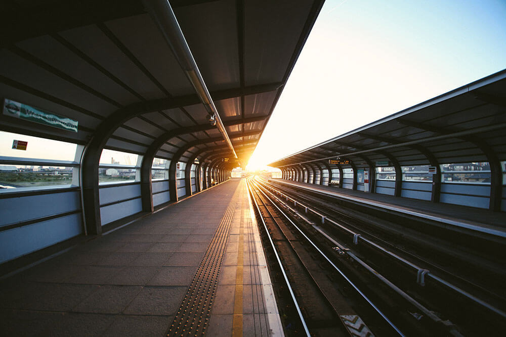 Railway pictured at sunset