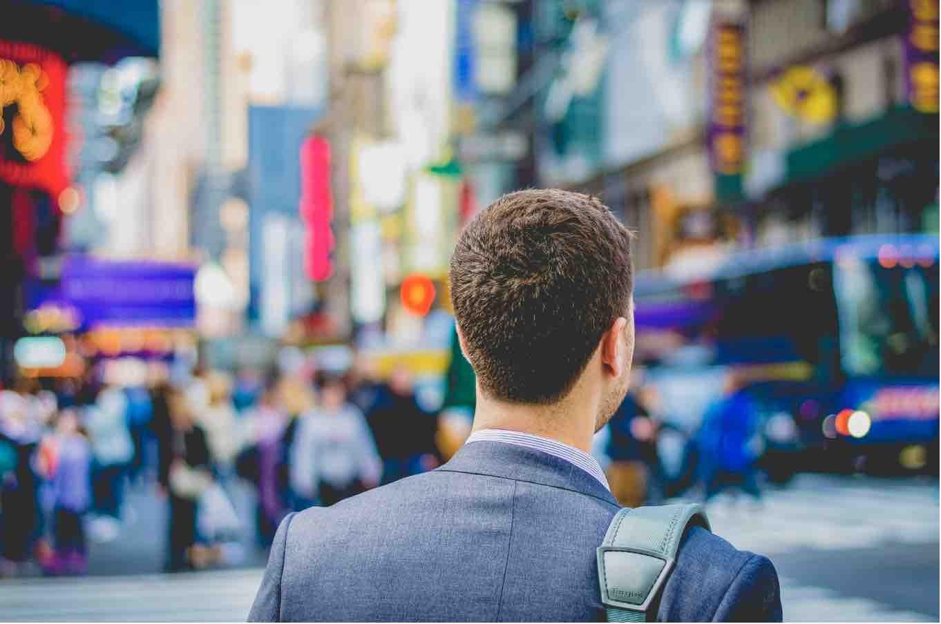 Businessman in city street
