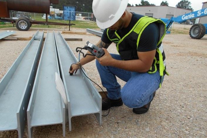 Man working on steel beams